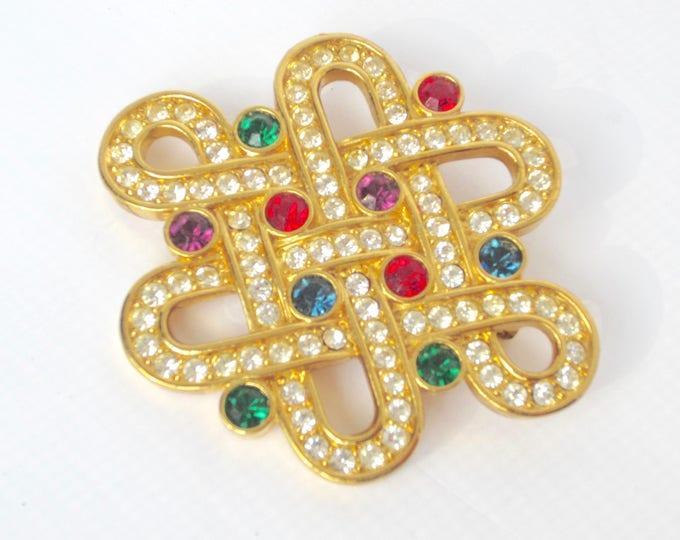 Genuine SWAROVSKI Swan signed ETERNITY red, purple, green, blue Crystal pin ~pretty, vintage costume jewelry