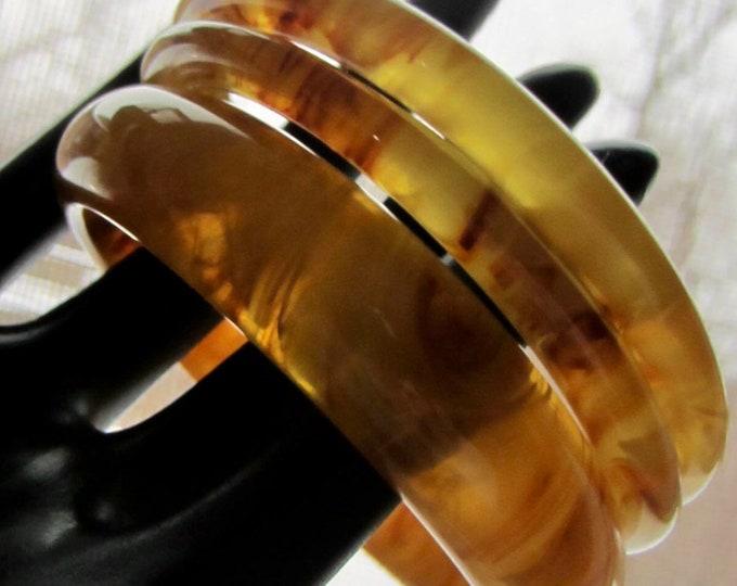 Lot of 3 Apple Juice Bakelite tested translucent & marbled Bangle Bracelets ~45 gms of unique vintage costume jewelry