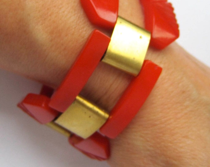 Bakelite Art Deco/Industrial/Age of Machine fire engine RED carved panel BRACELET ~collectible vintage costume jewelry