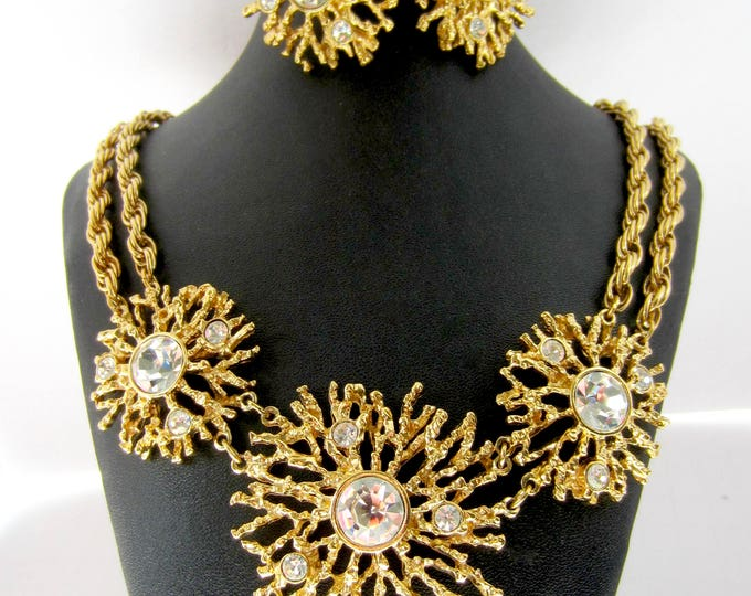 Kenneth Jay Lane KJL for Avon signed Starburst crystal Necklace, Earring SET ~pretty, runway, vintage costume jewelry