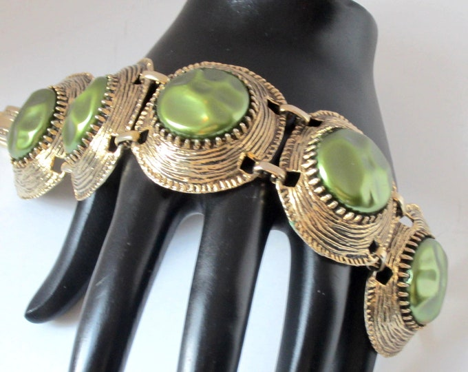Large Pistachio/peacock color pearl bead Panel Bracelet ~outstanding vintage costume jewelry