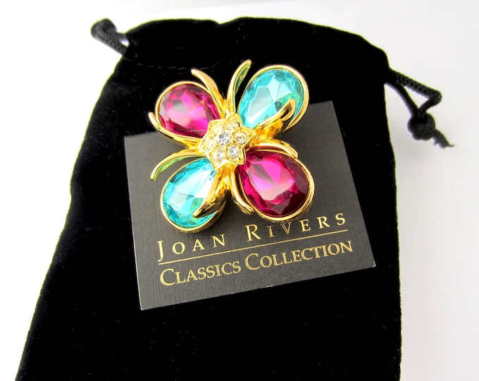 Joan Rivers signed Fucsia & Aqua crystal Maltese Cross pin, original box, pouch, and Romance card ~vintage costume jewelry