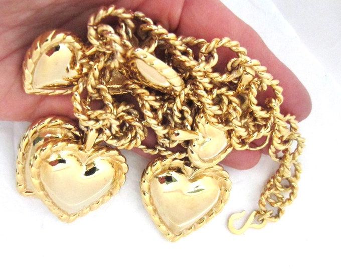 Huge Kenneth Jay Lane (KJL) signed, Over-the-Top, Runway, PUFFed HEART charm NECKLACE ~hard-to-find, vintage costume jewelry