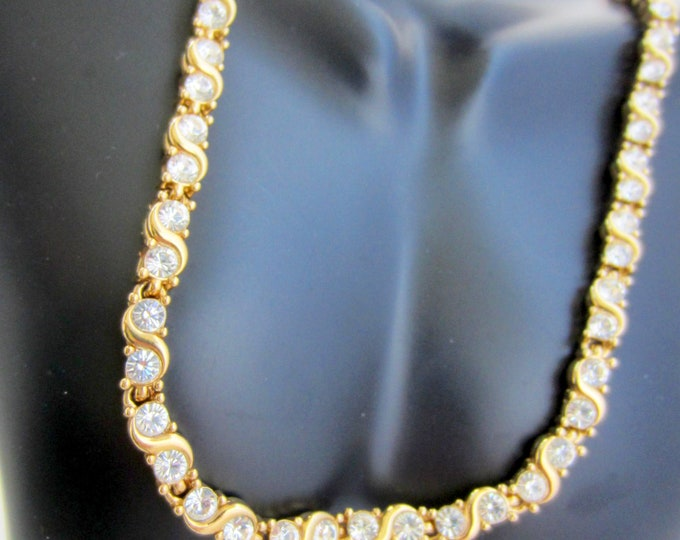 D'orlan signed clear crystal & gold panel Necklace ~elegant vintage costume jewelry