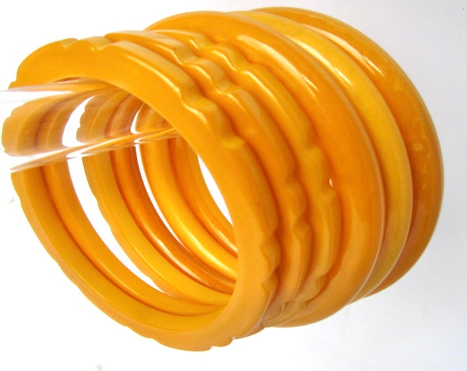 Lot BAKELiTE tested 3 carved cog, 3 tube Butterscotch Yellow STACKING Bangle Bracelets~ 102+ gms of glorious golden vintage jewelry
