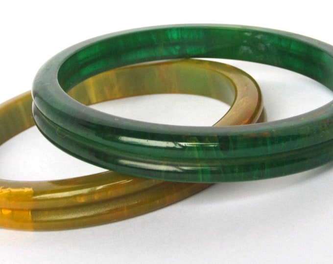 "Two BAKELITE tested GRooVED, marbled (1 is translucent ""Aqua Moon"") Bangle  Bracelet set ~wonderful vintage costume jewelry"