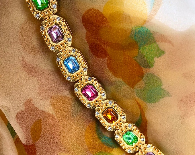 Kenneth Jay Lane signed pink, purple, blue crystal, panel Bracelet with original Pouch ~65 gms of lovely, vintage costume jewelry