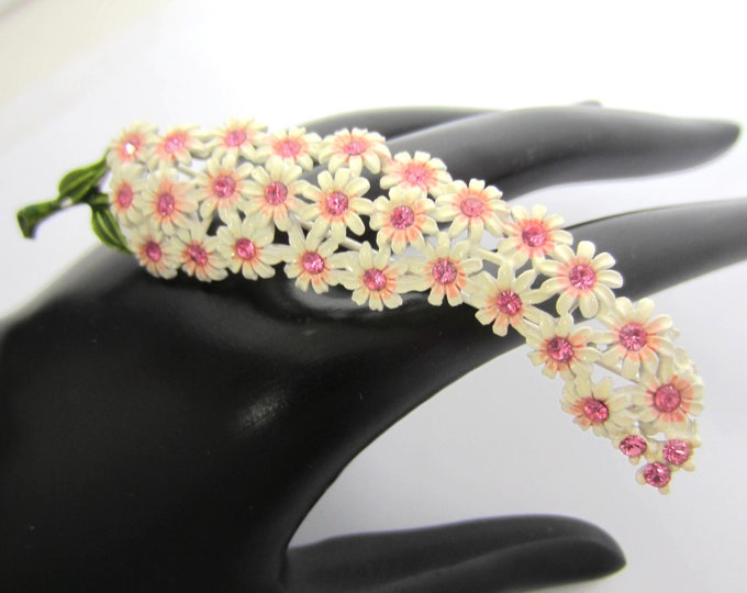 Large Pink crystal & White enamel Flower Power Brooch ~awesome, unique, mid-century, vintage costume jewelry