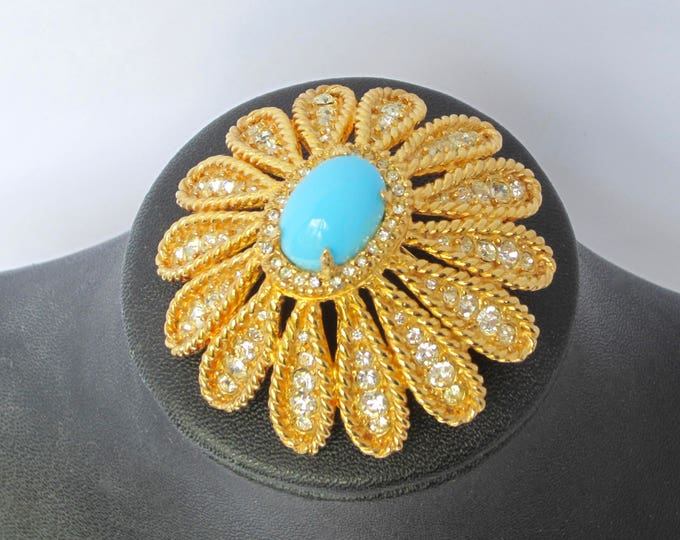 AMAZING DeNicola signed TURQUOISE crystal domed flower brooch ~vintage costume jewelry.