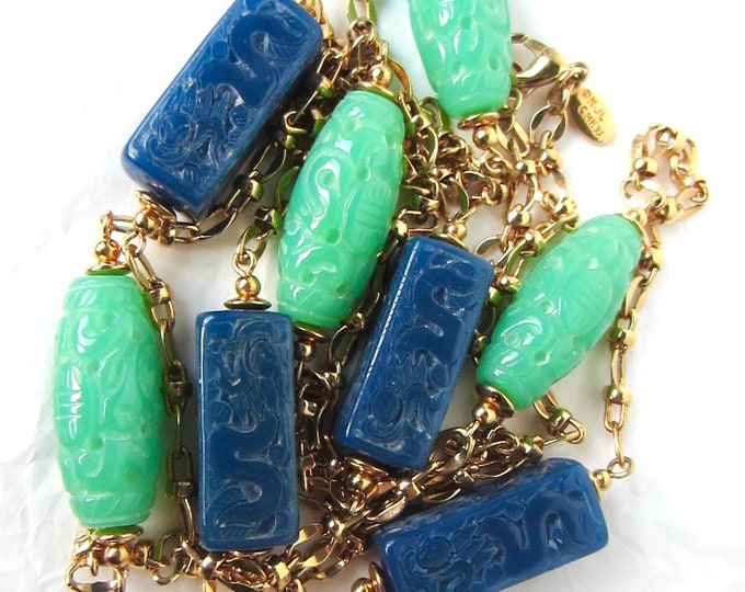 "Kenneth Jay Lane signed Asian inspired, jade & lapis lazuli-like beaded Necklace ~48"" of unique vintage costume jewelry"