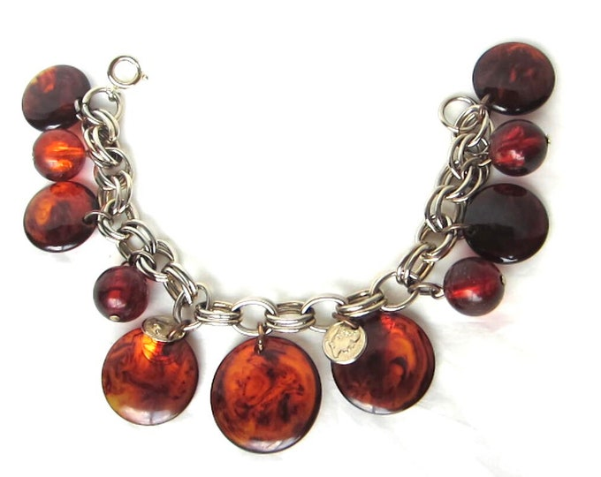 Bakelite (tested) & Lucite tortoise shell Cha-Cha CHARM Bracelet with Napoleon coins ~pretty, vintage costume jewelry