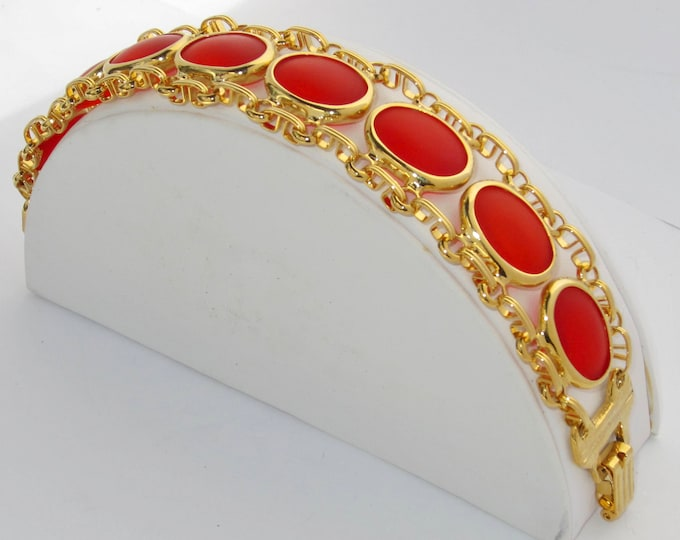 Glowing ORANGE translucent lucite, cabochon book chain, panel link Bracelet ~unique, pretty vintage costume jewelry