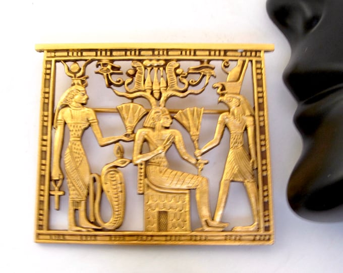 MFA—Museum of Fine Arts Boston Egyptian Revival scene (Queen & Deities) Brooch ~pretty, vintage costume jewelry