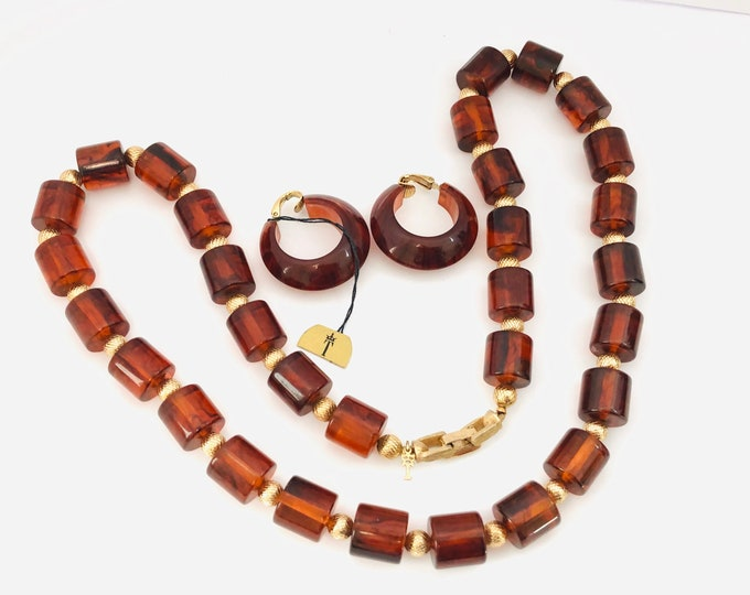 TRiFARi signed BAKELITE tested barrel bead Necklace & Lucite earring set ~pretty, translucent, amber color, vintage costume jewelry