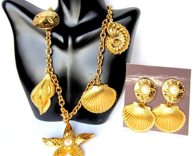BIG Kenneth Jay Lane (KJL) for Avon signed runway Seashell charm Necklace & Earring Set with orig. boxes ~impactful, vintage costume jewelry