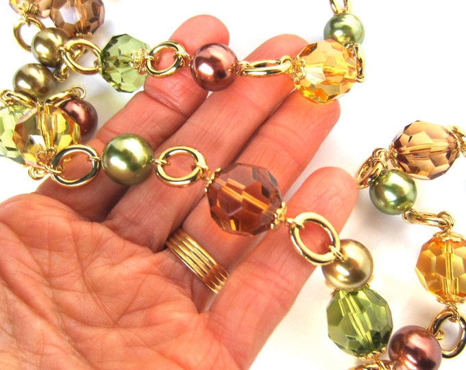 Kenneth Jay Lane (KJL) signed faceted Peridot, Citrine, Smokey Quartz crystal & pearl beaded Necklace ~pretty, vintage costume jewelry