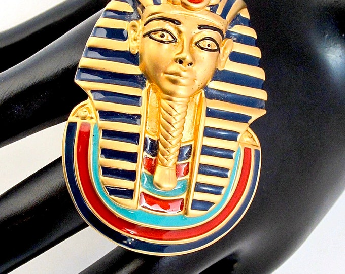 Franklin Mint FM signed King Tut Egyptian Revival PIN with real Carnelians ~vintage costume jewelry