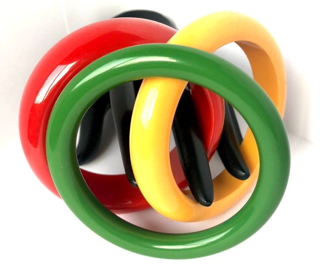 Chunky TRIO: Bakelite tested bangles ~120 gms of solid RED, Yellow, & Green color early plastic jewelry