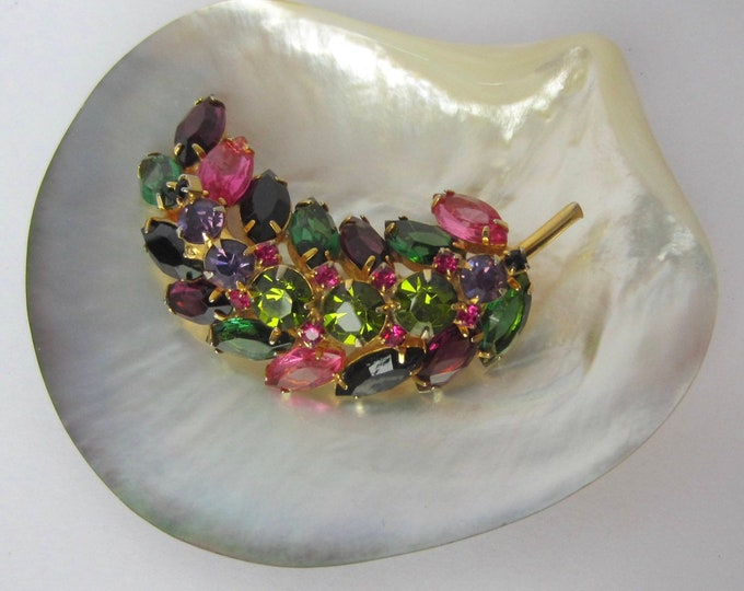 Juliana big pink, green, purple crystal leaf pin ~pretty, vintage costume jewelry