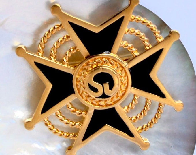 St. John Knit signed Maltese Cross PIN with black enameling ~vintage costume jewelry
