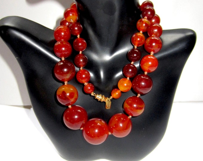 "BAKELiTE tested, Kenneth Jay Lane signed, Cherry Amber-Carnelian-like Beaded NECKLACE ~25"" & 87 gms of hand-knotted, vintage costume jewelry"