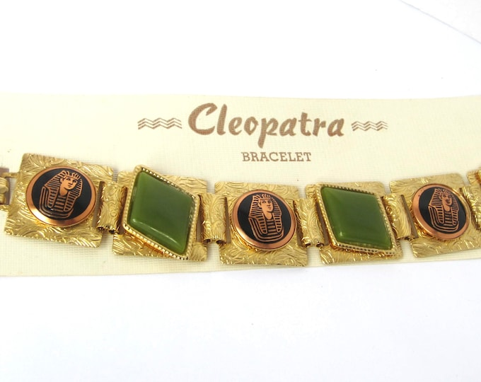 "Egyptian Revival KING Tut book chain BRACELET with original ""Cleopatra"" display card ~unique vintage costume jewelry"