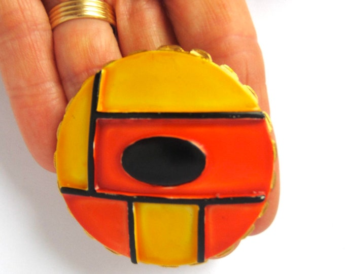 Original by Robert signed Mondrian inspired red, yellow, black enamel BROOCH ~eye-catching, collectible vintage costume jewelry