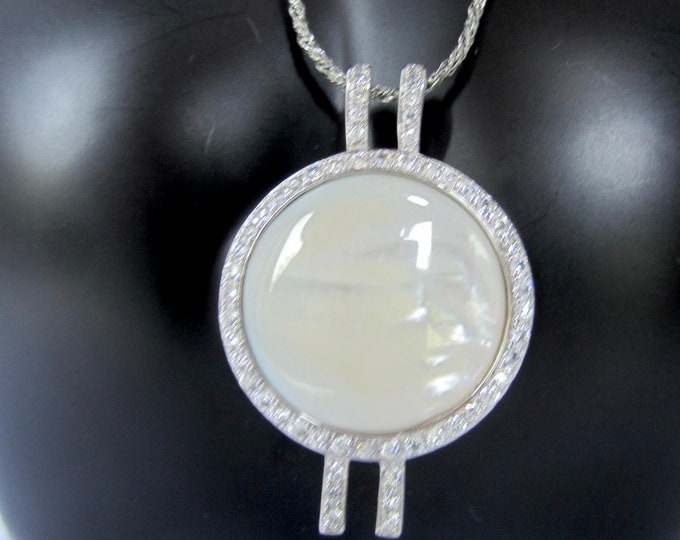 Nolan Miller signed Mother of Pearl crystal pendant with Sterling Silver chain ~pretty vintage costume jewelry