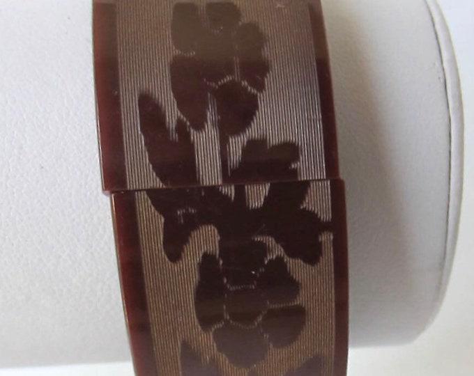 Asian Revival BAKELiTE tested tile, floral scene, expansion Bracelet ~gms of fascinating, rare vintage costume jewelry