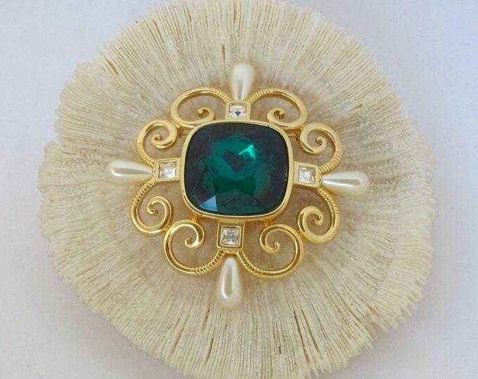 Sandra Miller Burrows (SMB) signed massive AQUA, PEARL crystal Enhancer~Pin ~lovely, rare, designer, vintage costume jewelry