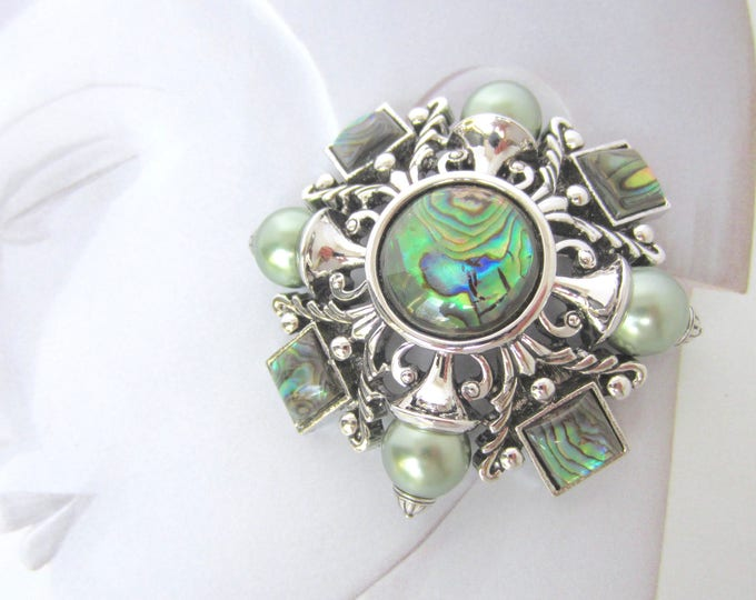 Joan Rivers signed Abalone Shell, Domed, MALTESE Cross PIN with gray green Pearl Beads ~big, bold, amazing, vintage costume jewelry