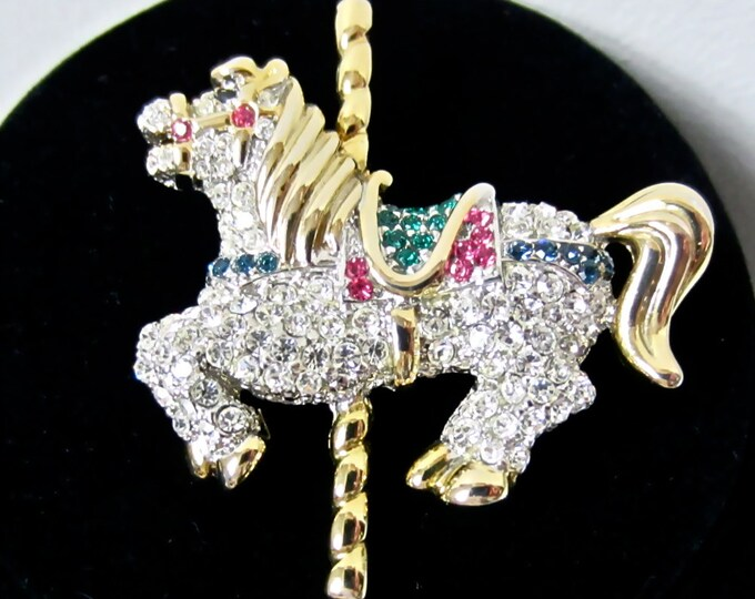RHINESTONE encrusted CARNIVAL HORSE pin ~lovely, detailed vintage costume jewelry