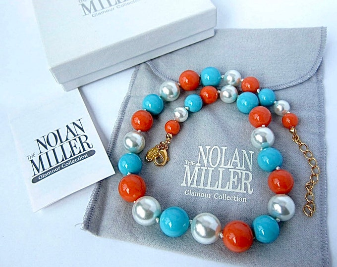 Nolan Miller signed Hand-Knotted, faux turquoise, coral, pearl beaded Necklace, org. box, pouch, warranty ~pretty, vintage costume jewelry