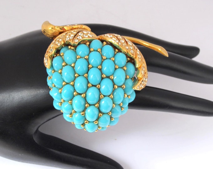 RARE Ciner signed Turquoise bead STRAWBERRY brooch ~large, lovely, collectible vintage costume jewelry