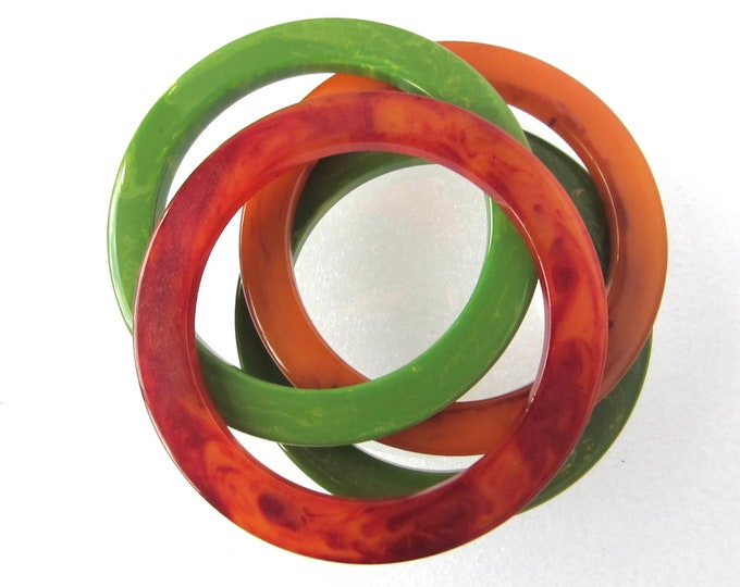 Four Genuine Bakelite COG wheel Bangle Bracelets: 2 green, 1 red amber, & 1 butterscotch ~61 gms of beautiful early plastic jewelry