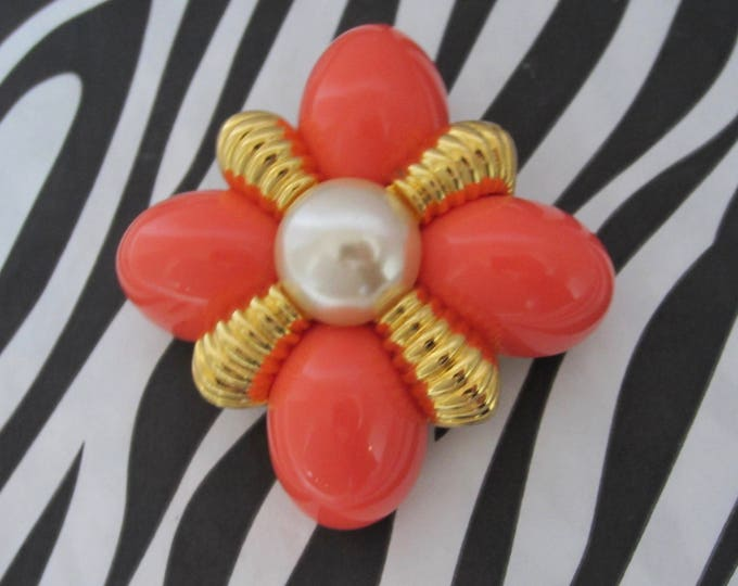 Joan Rivers signed Orange & Pearl bead, gold tone Ribbed, Domed MALTESE Cross PIN ~Timeless, vintage costume jewelry