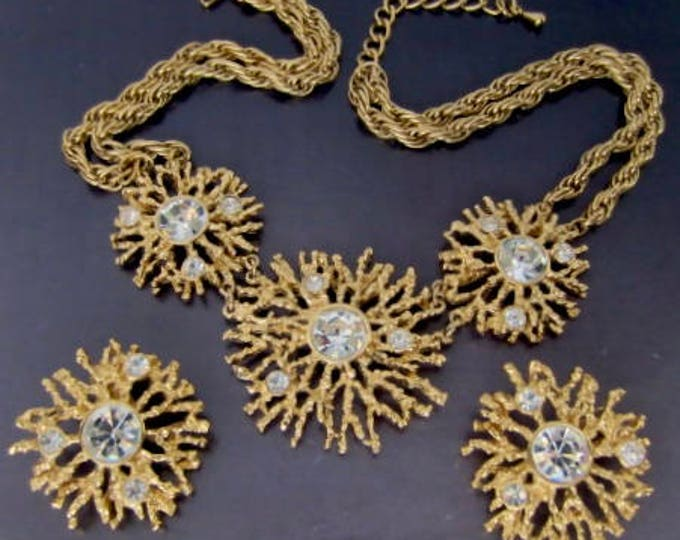 Kenneth Jay Lane KJL for Avon signed Starburst crystal Necklace, Earring SET ~pretty, runway, vintage costume jewelry