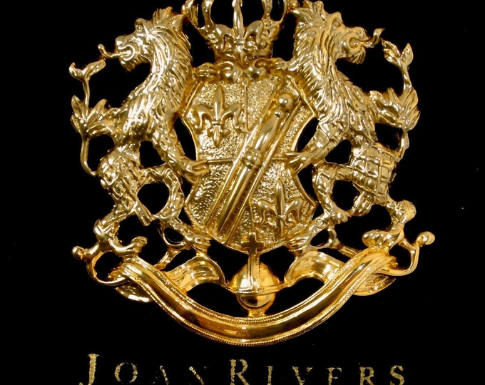 Joan Rivers signed large golden Lion shield Pin with org. black pouch ~pretty vintage costume jewelry