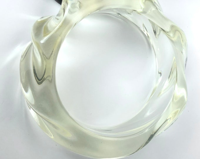 Genuine translucent twisted CRASHING WAVES Lucite vintage Bangle Bracelet ~90 gms of vintage costume jewelry