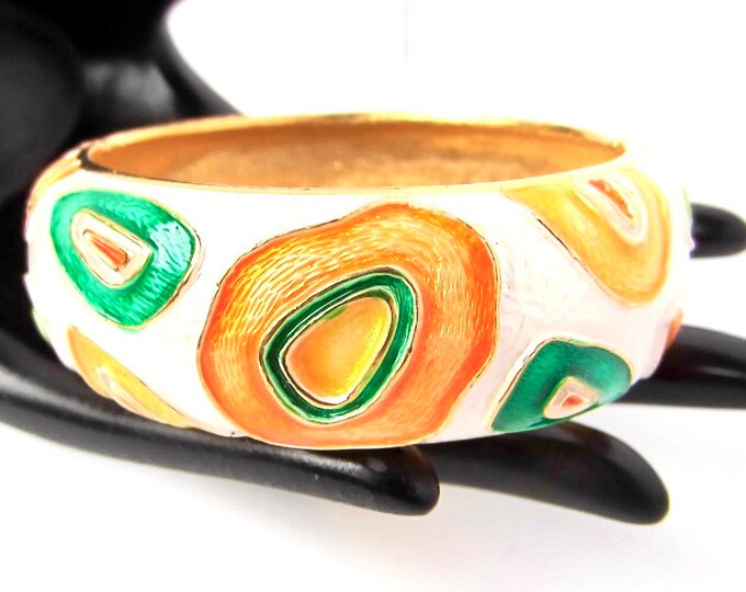 Modernist, designer-inspired Yellow, Orange, Green Enamel Golden Clamper Bracelet ~85 gms of vintage costume jewelry