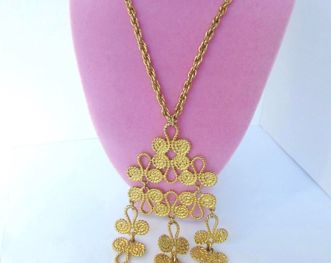 EGYPTIAN Revival scroll wire work PENDANT & CHAIN set ~whimsical, vintage costume jewelry