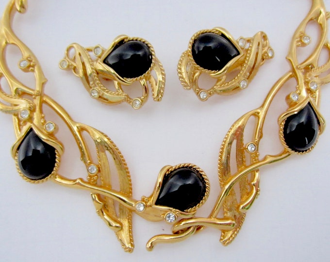 Jose BARRERA for Avon signed Rambling Vines Black and Clear crystal Necklace & Earrings set ~enchanting vintage costume jewelry