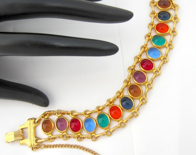 Cabochon Glass golden link panel  bracelet ~lovely vintage costume jewelry