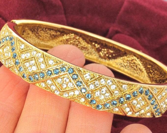 Camrose & Kross signed Jackie B. Kennedy (JBK) inspired sapphire crystal clamper Bracelet, org. box ~elegant, vintage costume jewelry