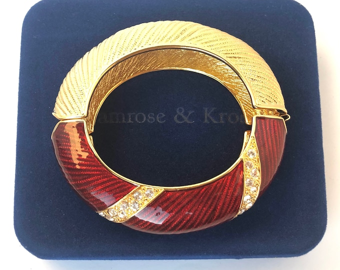 Jackie Kennedy Camrose & Kross signed Red Enamel, Fluted, Gold-tone Clamper Bangle Bracelet, org. box ~runway, hard-to-find vintage jewelry
