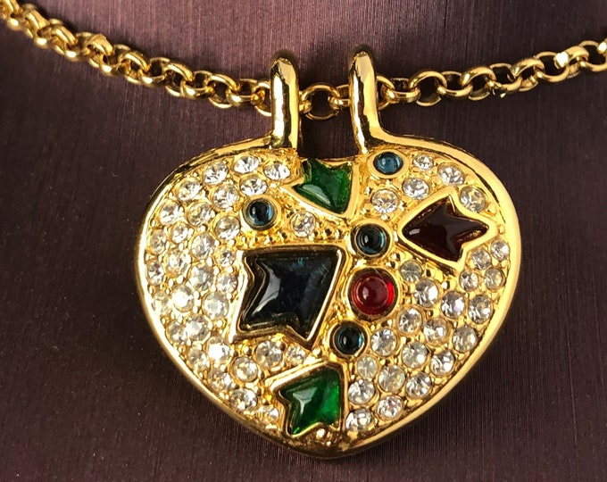 Kenneth Jay Lane (KJL) signed puff HEART pendant with org. chain ~pretty vintage costume jewelry