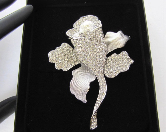 Joan Boyce signed ROSE pin with crystals & gunmetal finished ~pretty costume jewelry