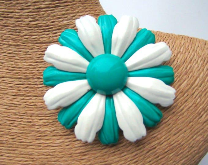 "Oversized ""FLOWER POWER green & white enamel pin ~mid century, vintage costume jewelry"