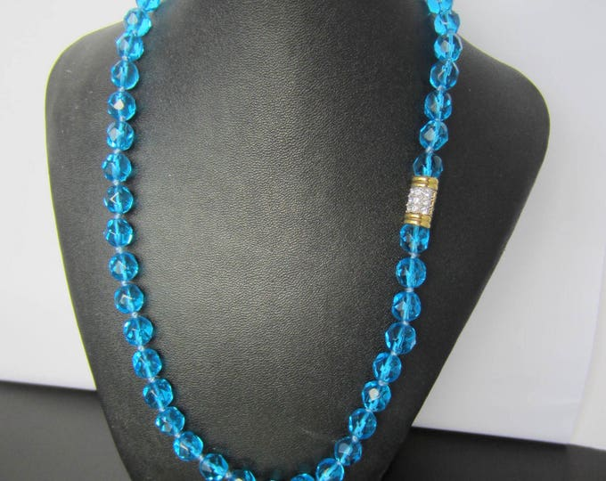 Mesmerizing, designer-quality AZURE blue Czech crystal bead Necklace ~vintage costume jewelry
