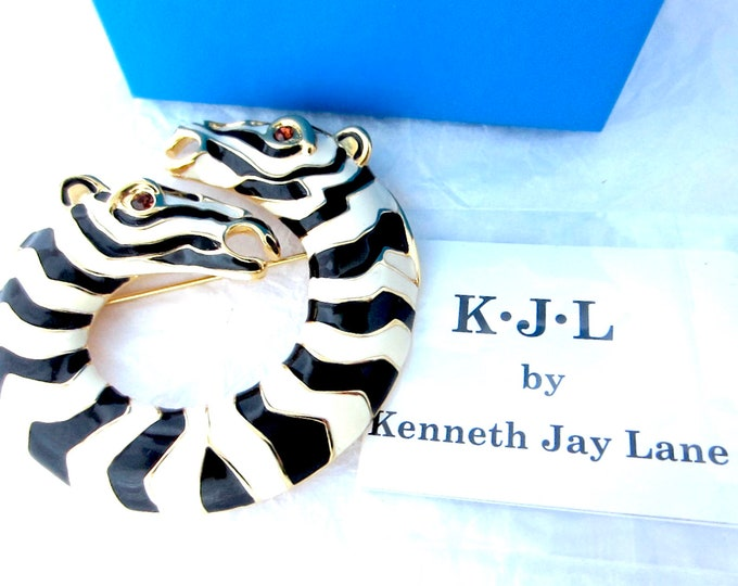 Kenneth Jay Lane (KJL) signed Black & White ZEBRA pin with original box, Romance card ~outstanding vintage costume jewelry
